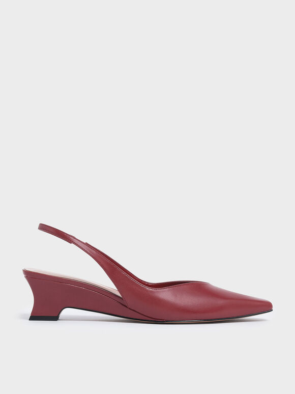 V-Cut Low Sculptural Heel Slingback Pumps, Pink, hi-res