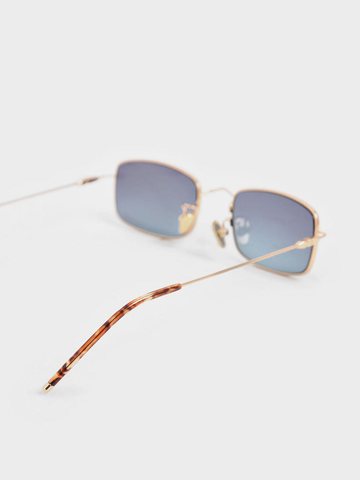 金屬方框墨鏡, 藍色, hi-res