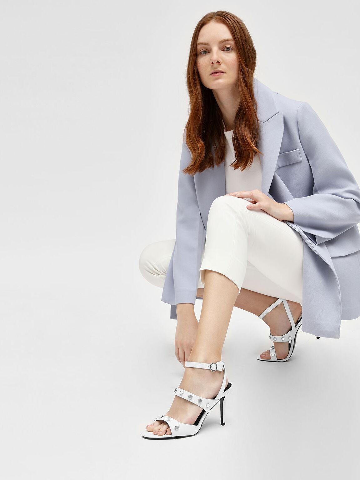 Stud Detail Heeled Sandals, White, hi-res