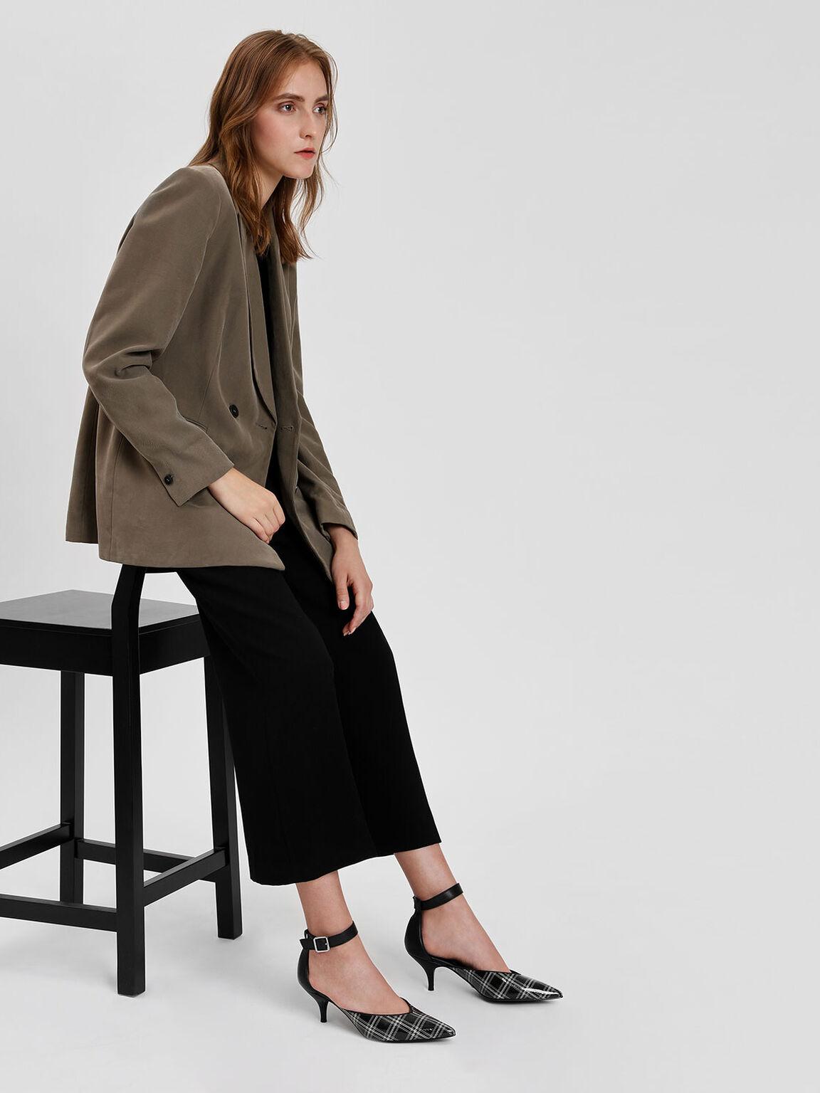 Ankle Strap Leather Heels, Black Textured, hi-res
