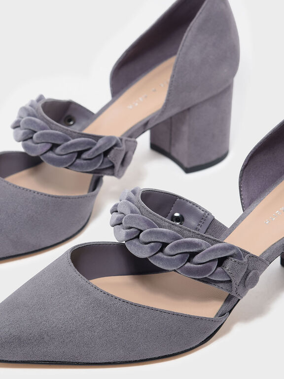 Chain Detail Pointed Heels, Grey
