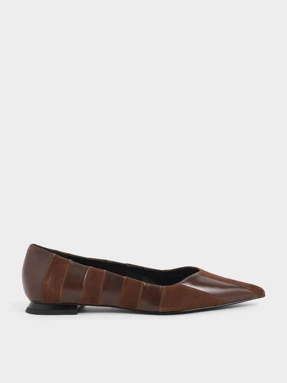Kid Suede & Wrinkled Leather Striped Ballerina Flats, Cognac, hi-res