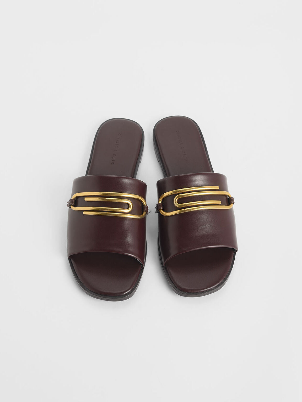 Metal Accent Slide Sandals, Brown, hi-res