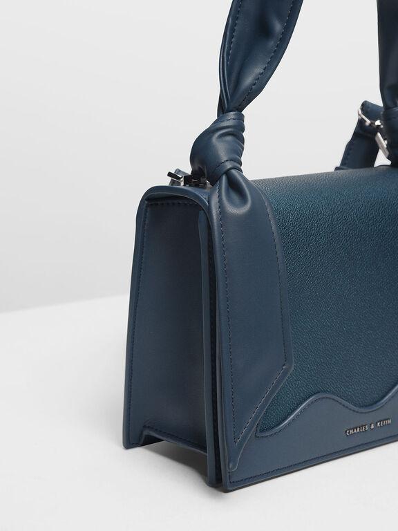 Knot Detail Handle Bag, Teal, hi-res