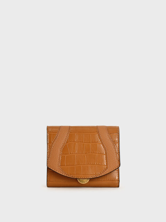 Croc-Effect Push-Lock Mini Wallet, Cognac, hi-res