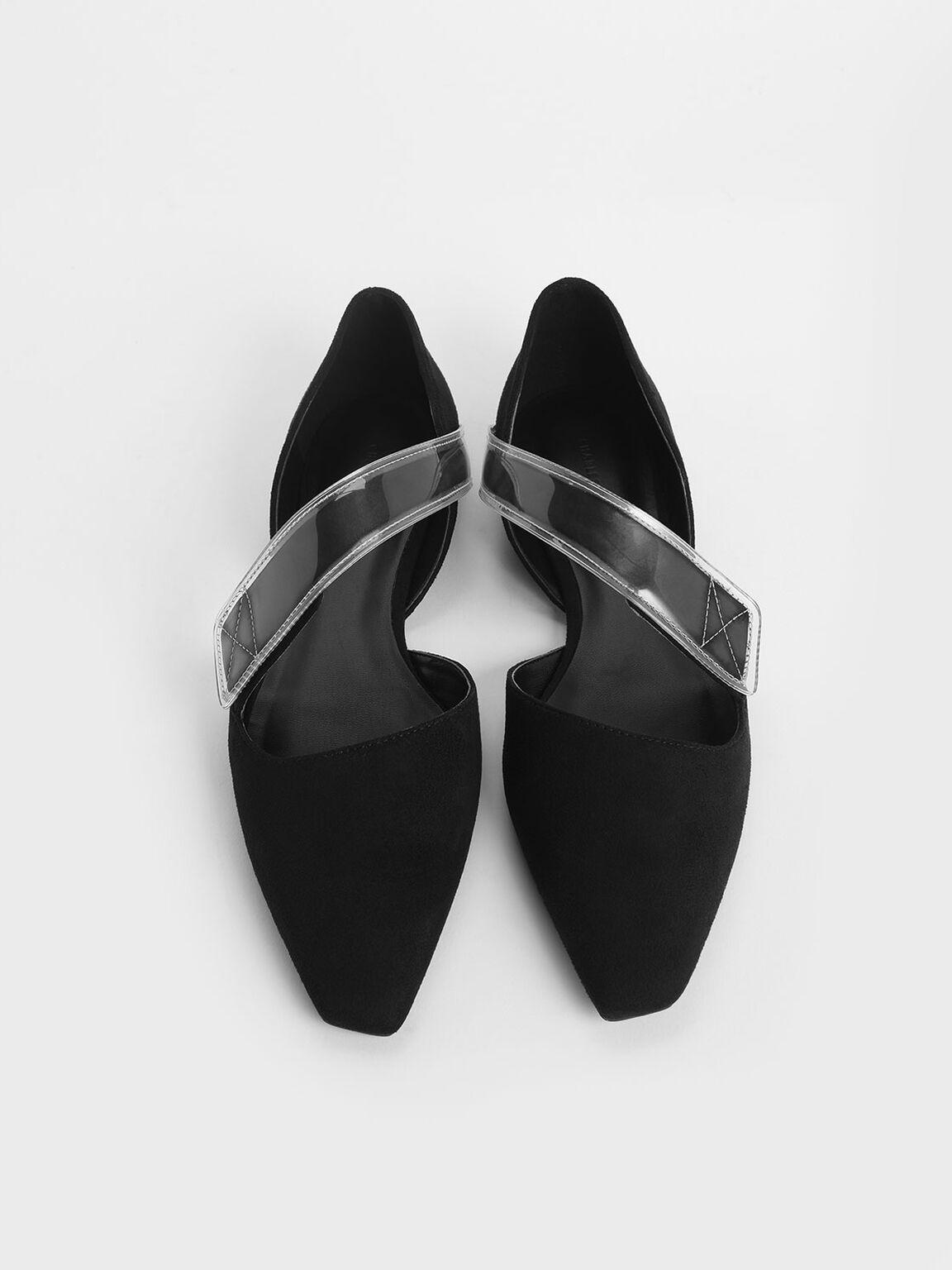 Asymmetric See-Through Strap Mary Jane Flats, Black, hi-res
