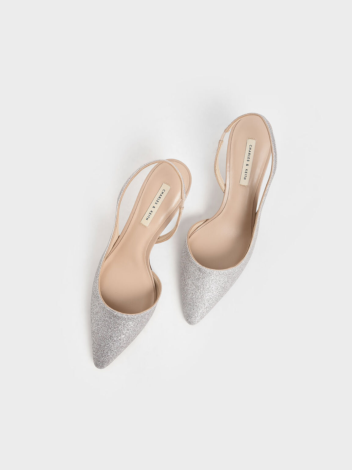 Glitter Half D'Orsay Slingback Pumps, Silver, hi-res