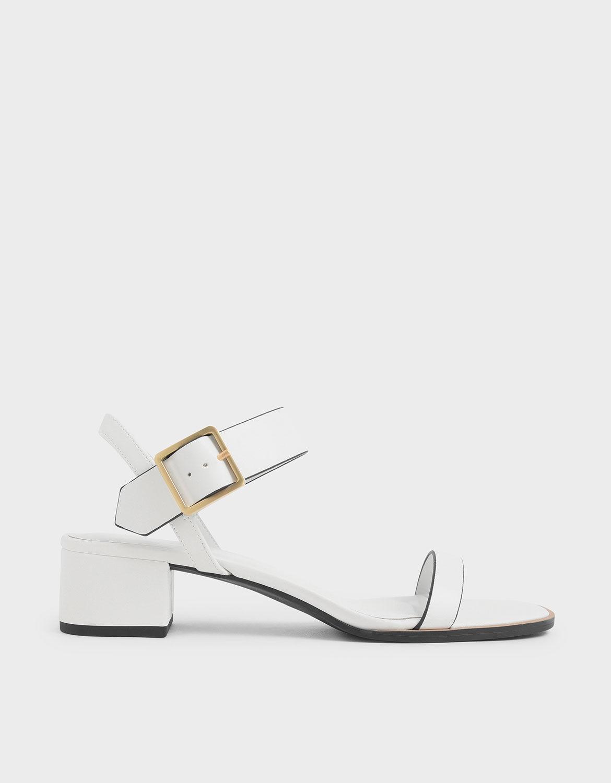 Frame Buckle Block Heel Sandals