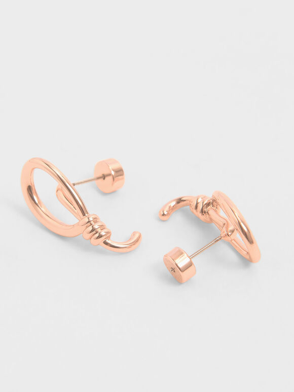 Knotted Stud Earrings, Rose Gold, hi-res