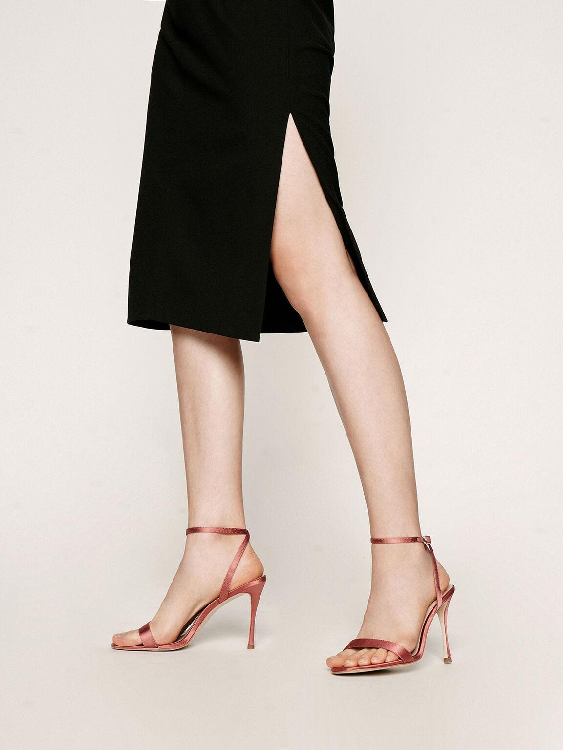 Satin Stiletto Heels, Pink, hi-res