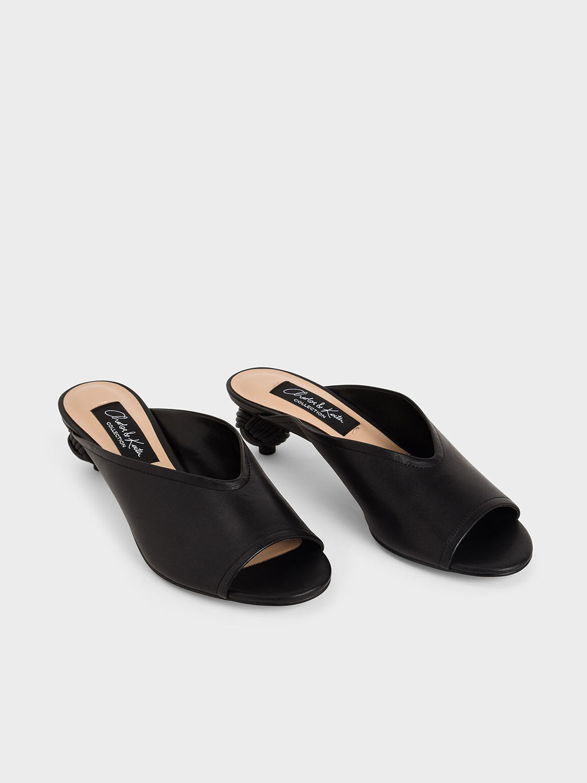 Leather Sculptural Heel Open Toe Mules, Black, hi-res