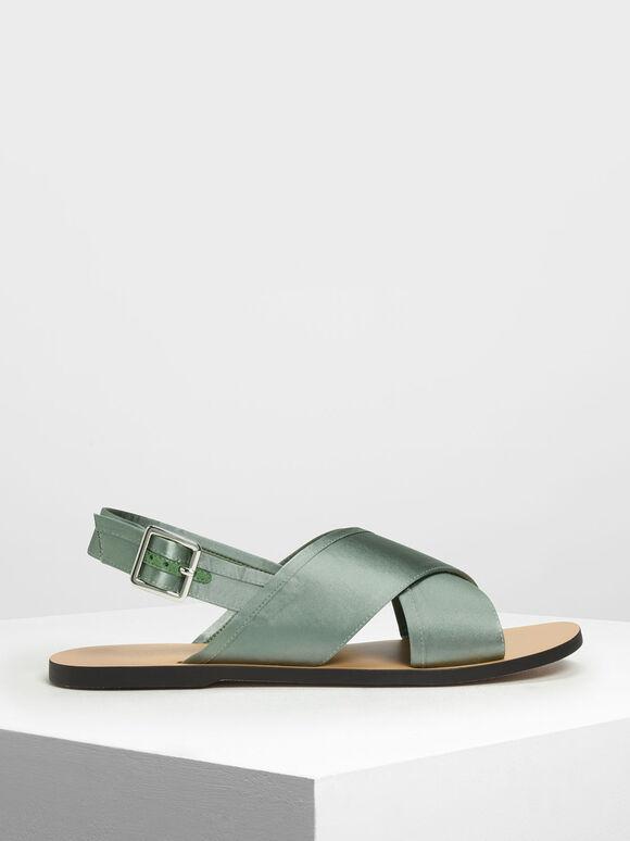 Satin Criss Cross Sandals, Green, hi-res