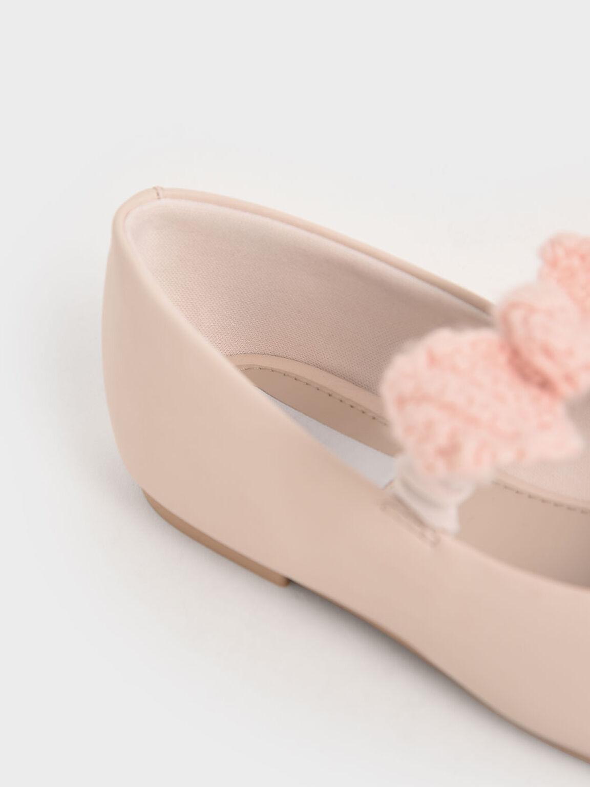 Girls' Crochet Bow Mary Jane Flats, Light Pink, hi-res