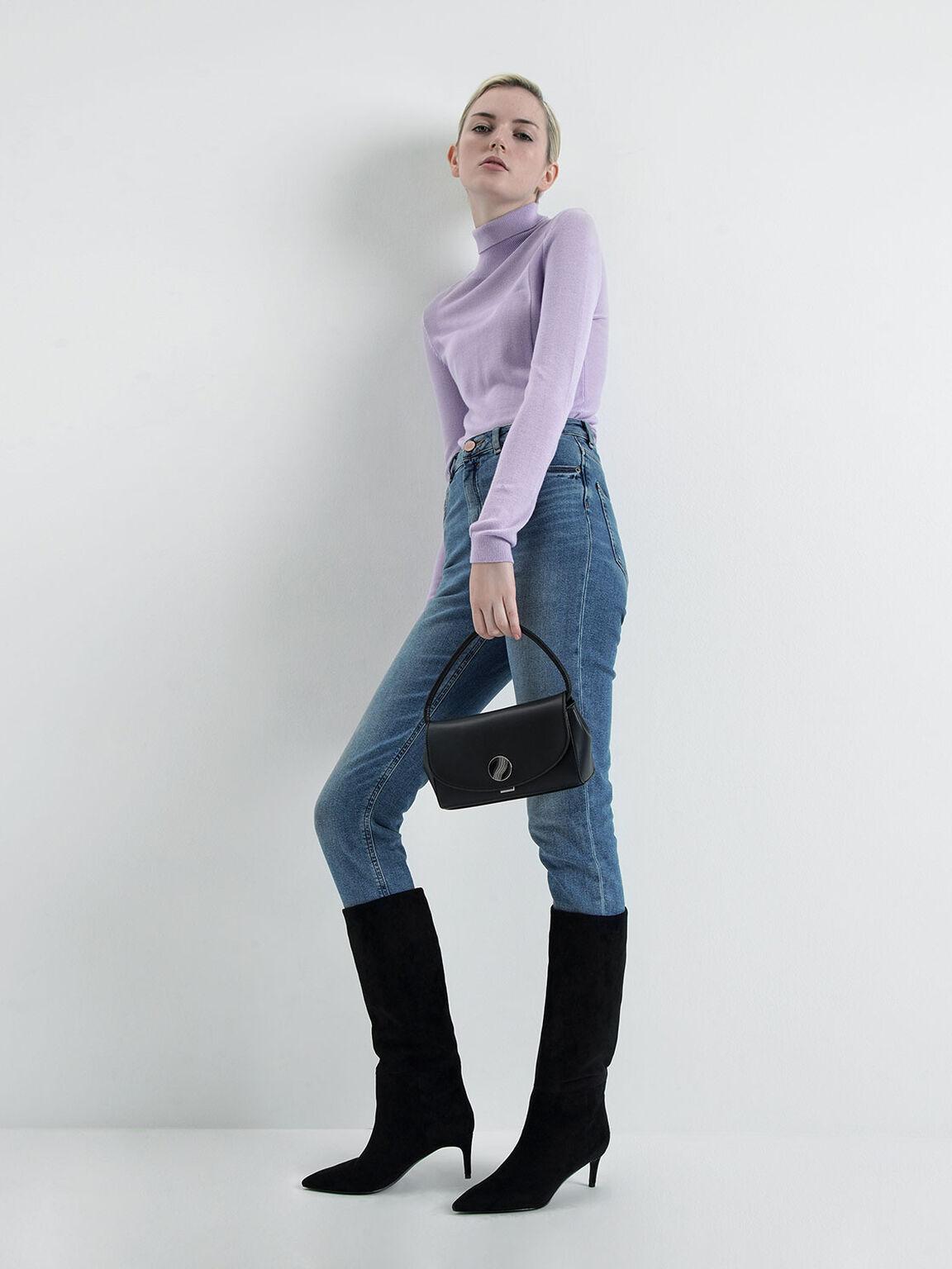 Chunky Chain Handle Mini Shoulder Bag, Black, hi-res