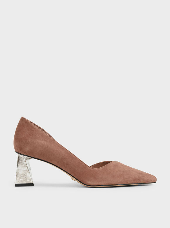 Chrome Heel Pumps (Kid Suede), Brick, hi-res