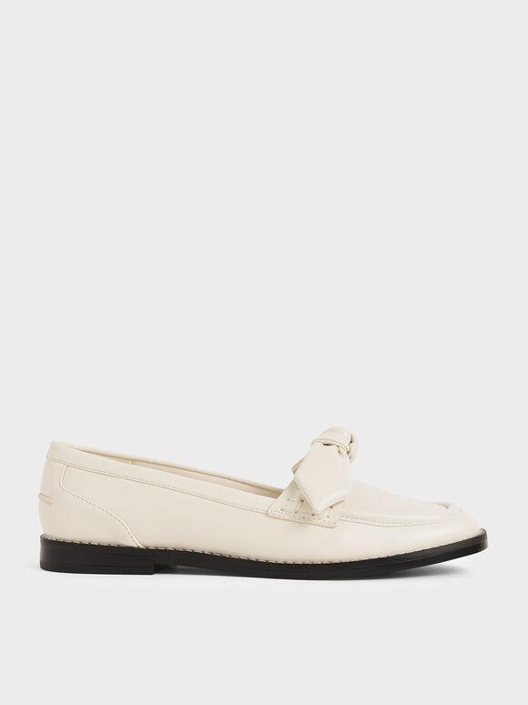 蝴蝶結樂福鞋, 奶油色, hi-res