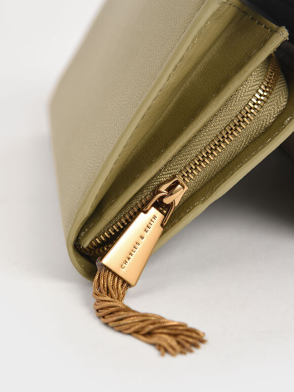 Tassel Detail Long Wallet, Sage Green, hi-res