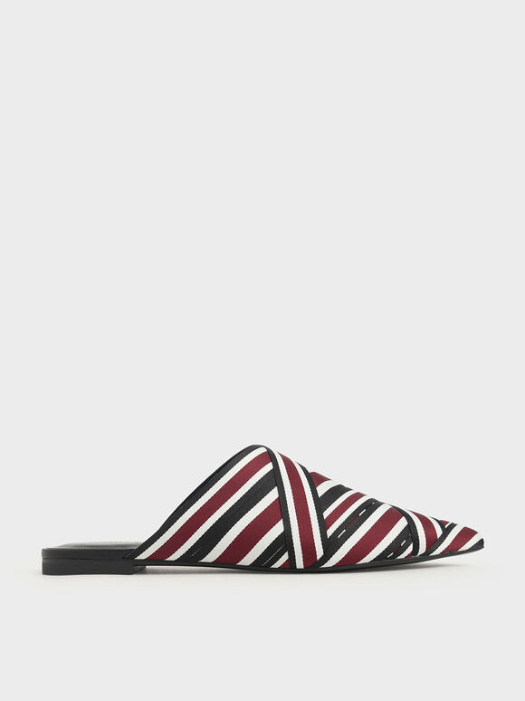 線條羅緞穆勒鞋, 酒紅色, hi-res