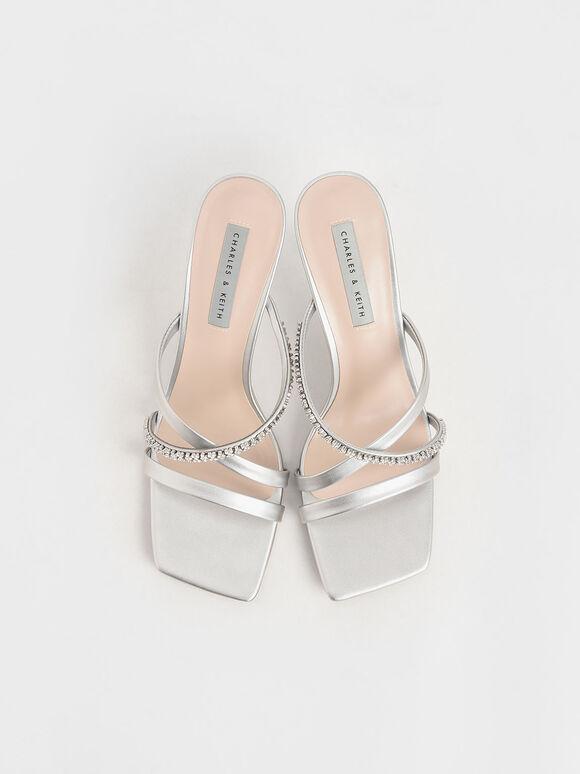 Gem-Embellished Strappy Mules, Silver, hi-res