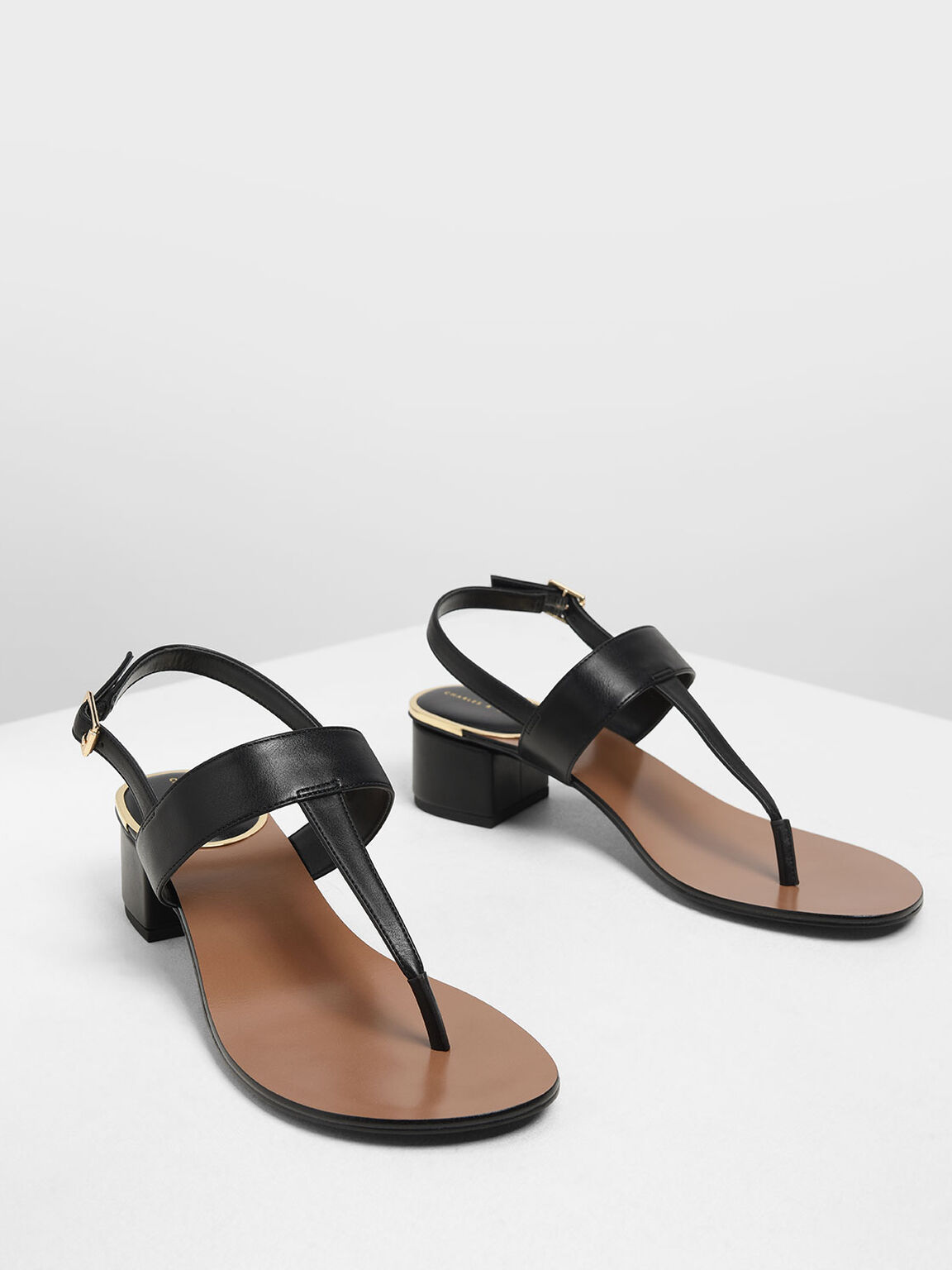 Block Heel Thong Sandals, Black, hi-res