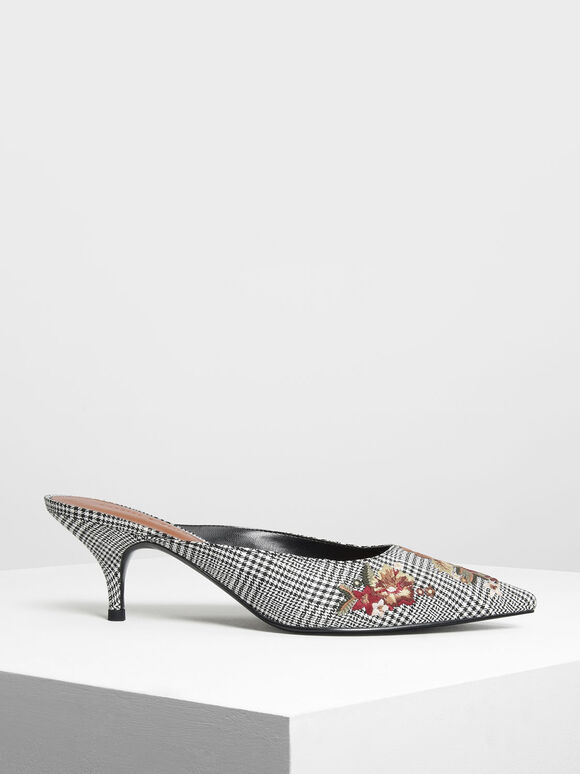 Floral Embroidery Mules, Multi, hi-res