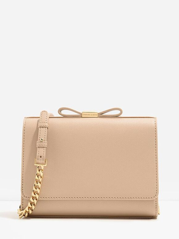 Bow Detail Clutch, Nude, hi-res