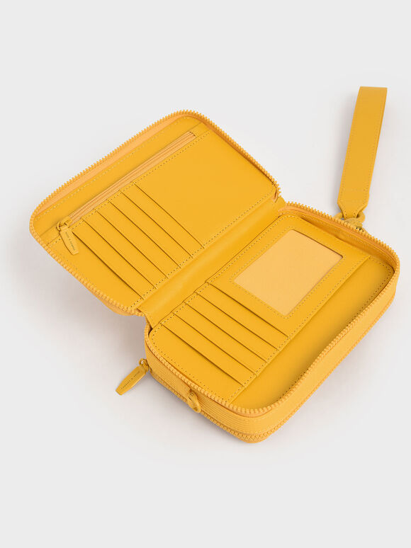 雙拉鍊手拿包, 黃色, hi-res