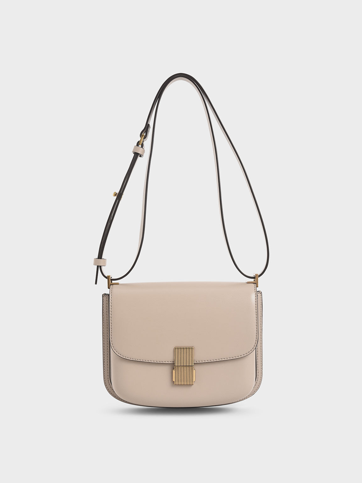 Metallic Push-Lock Shoulder Bag, Sand, hi-res