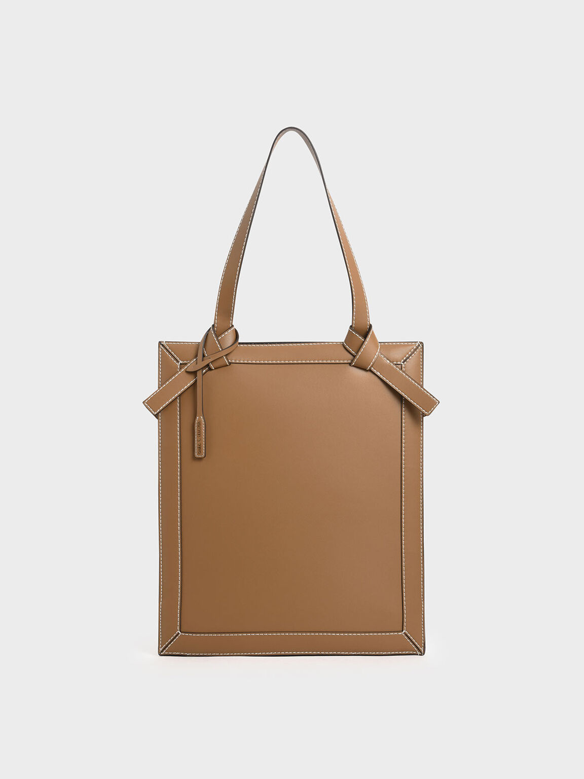 Large Knot Handle Elongated Tote, Camel, hi-res