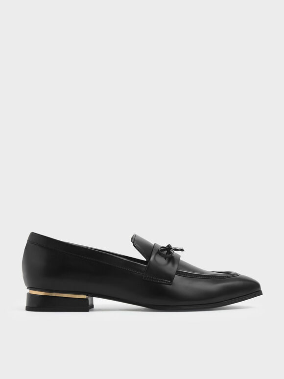 Bow Detail Loafers, Black, hi-res