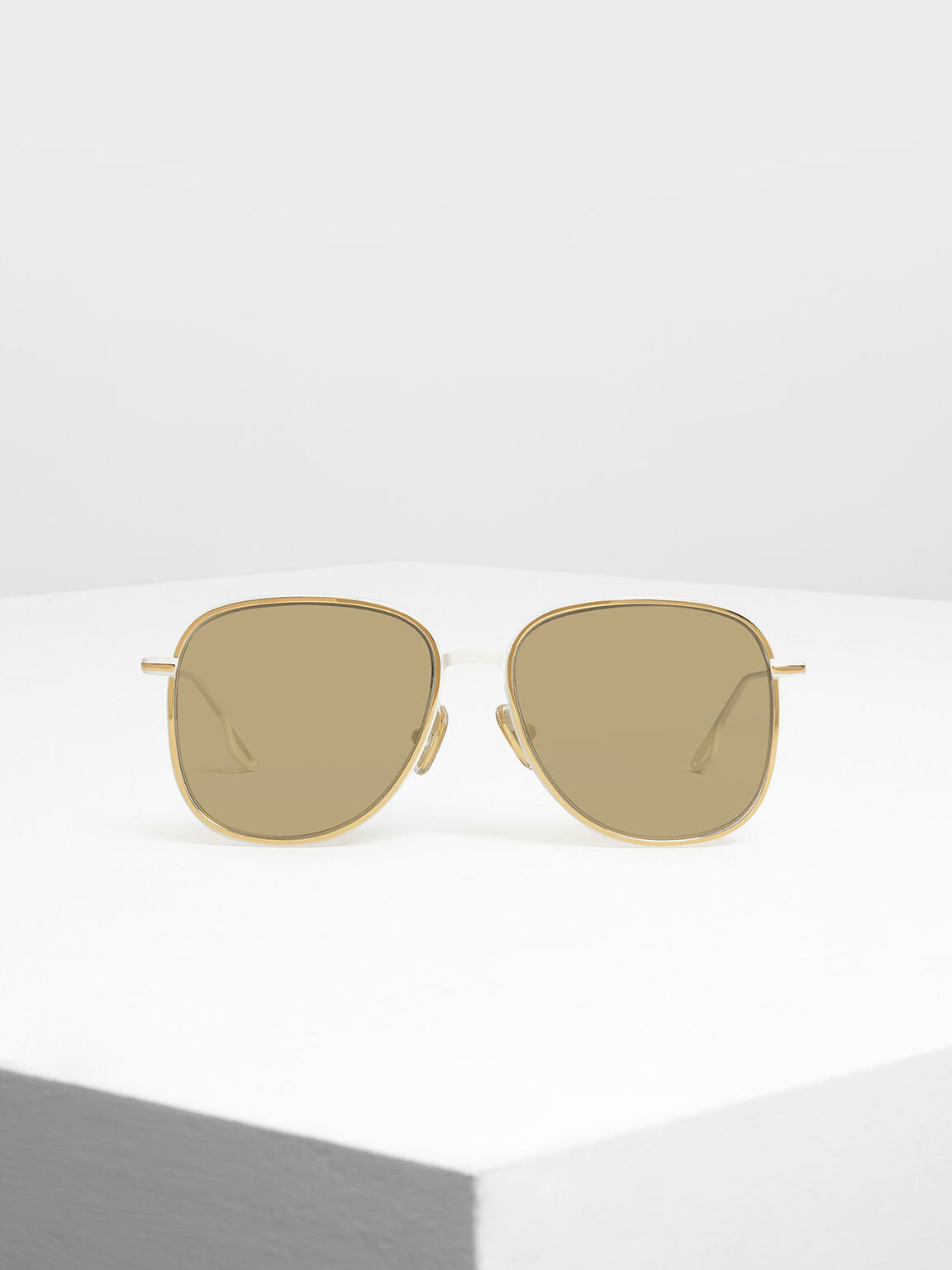 Classic Wire Framed Aviators, White, hi-res