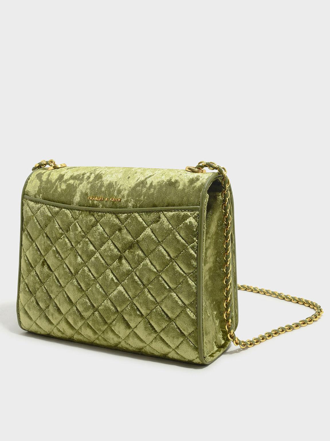 Quilted Sling Bag, Green, hi-res
