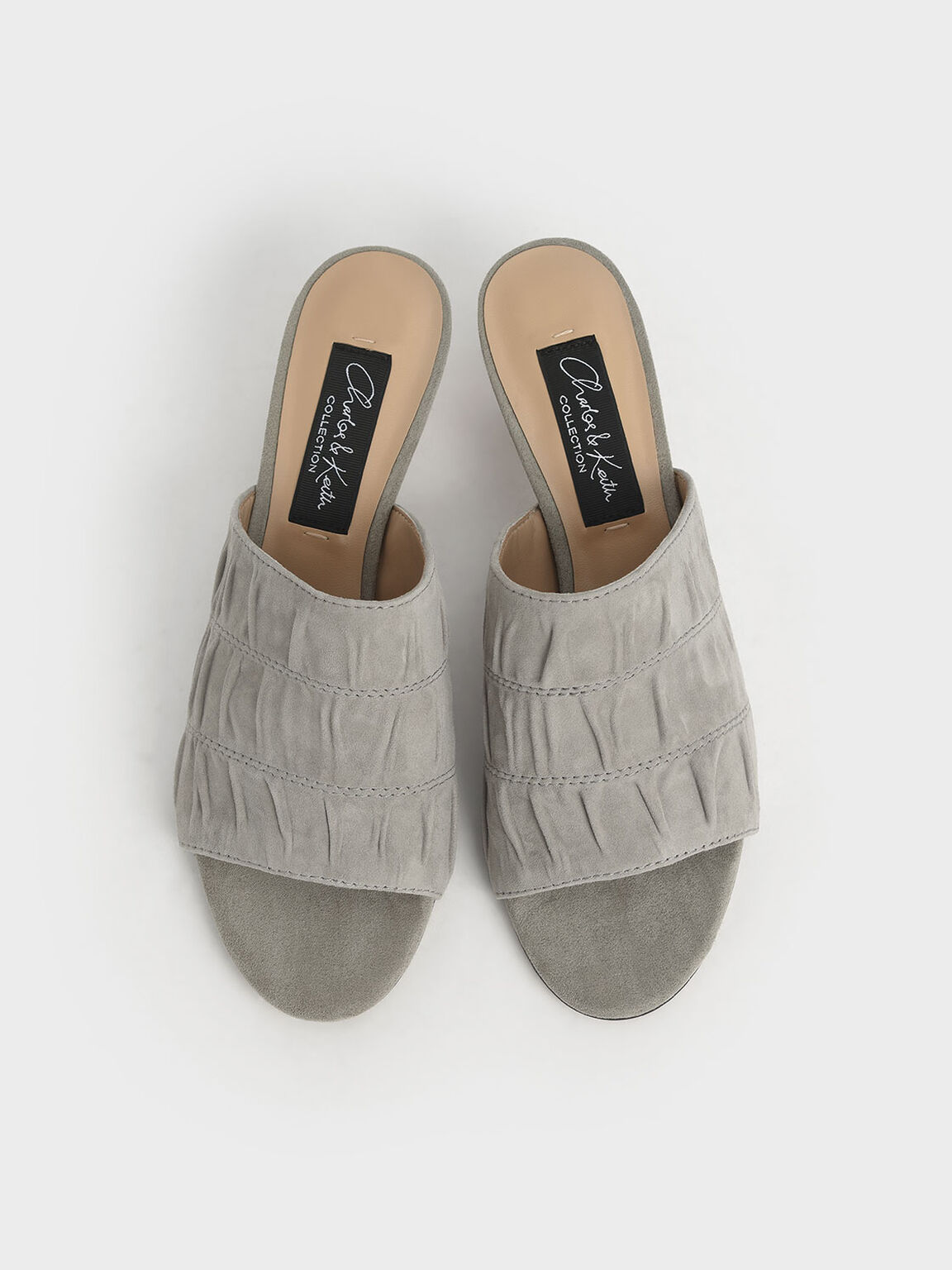 Embellished Heel Ruched Mules (Kid Suede), Sage Green, hi-res