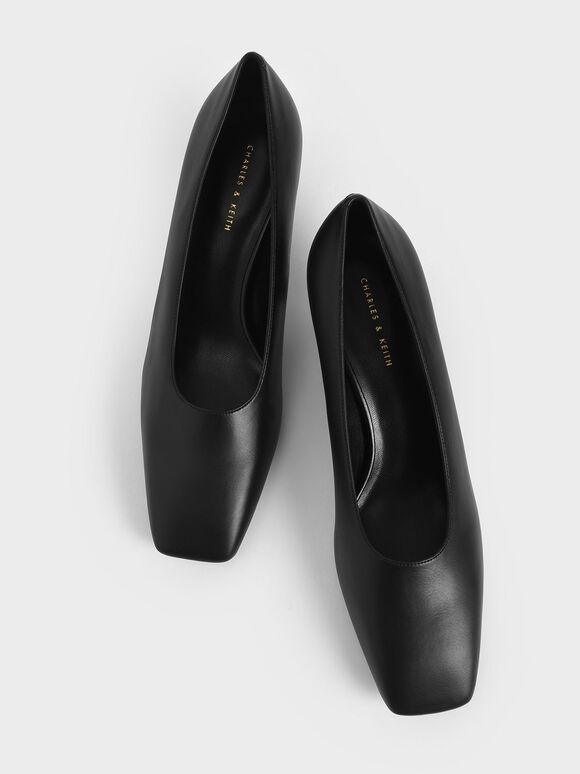 Square Toe Kitten Heel Court Shoes, Black, hi-res