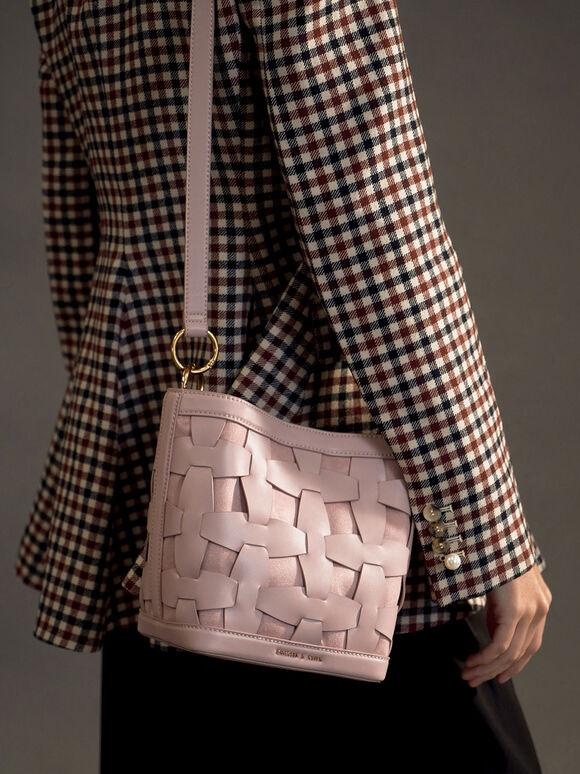 Weave Detail Bucket Bag, Pink, hi-res