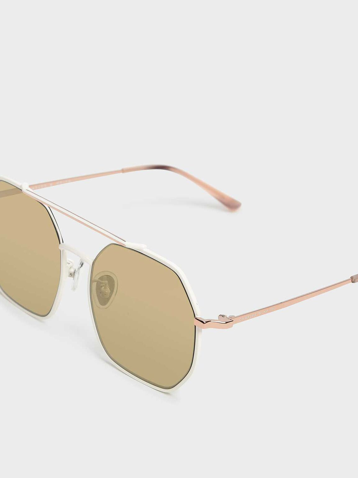 Geometrical Frame Sunglasses, White, hi-res