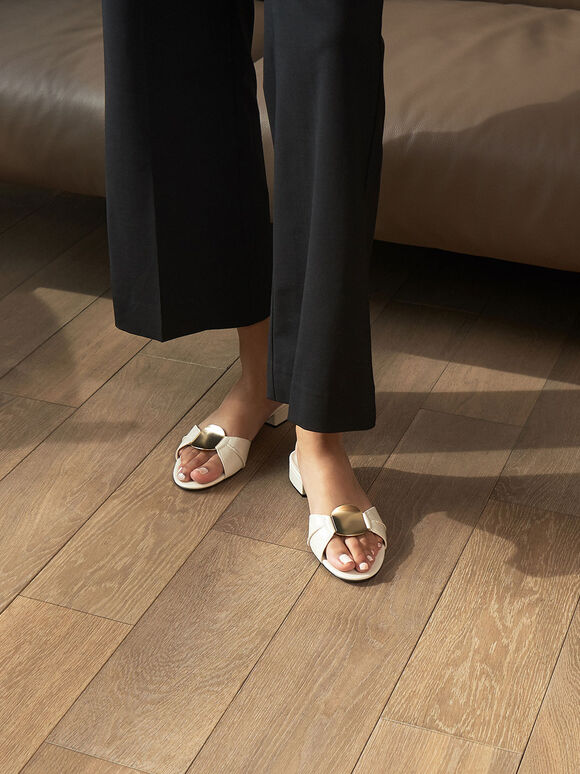 Metal Accent Slide Sandals, Chalk, hi-res