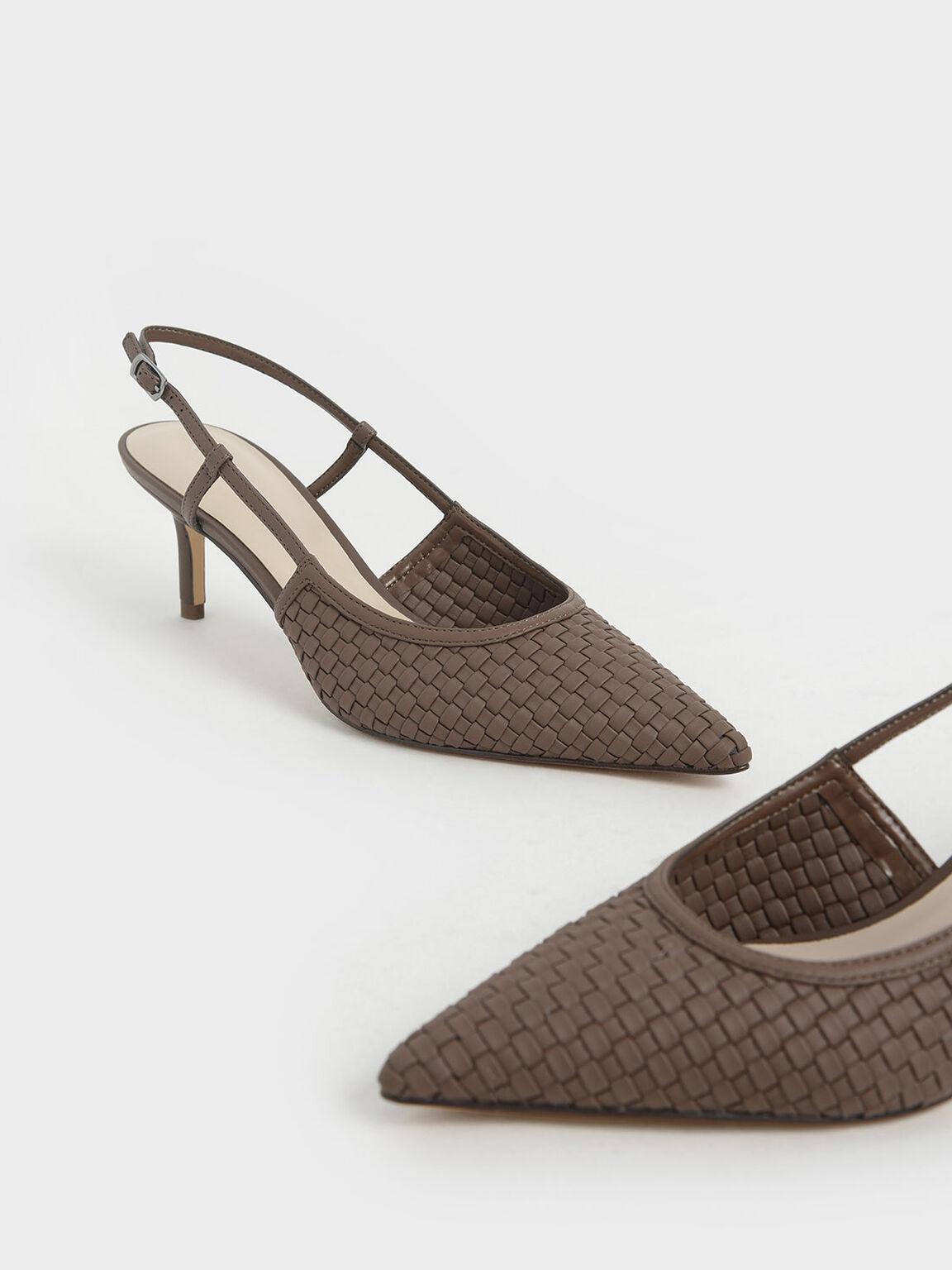 編織後踝帶跟鞋, 咖啡色, hi-res