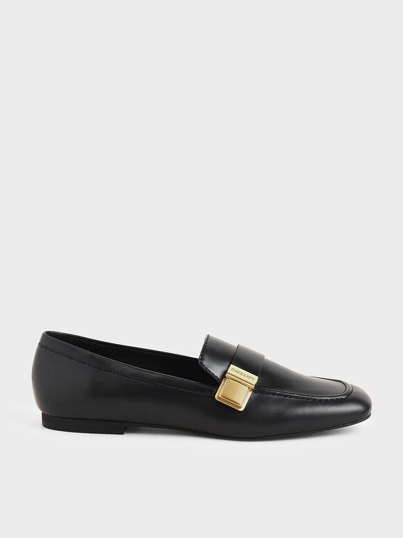 金屬方扣樂福鞋, 黑色, hi-res