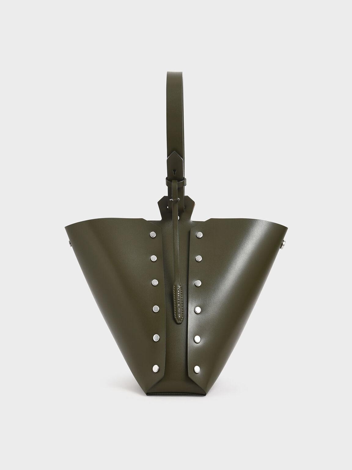 Reversible Studded Trapeze Shoulder Bag, Olive, hi-res