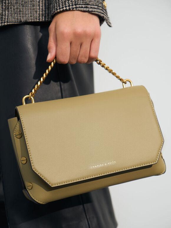 Chain Handle Shoulder Bag, Khaki, hi-res