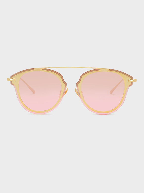 Angular Metal Frame Aviators, Pink, hi-res