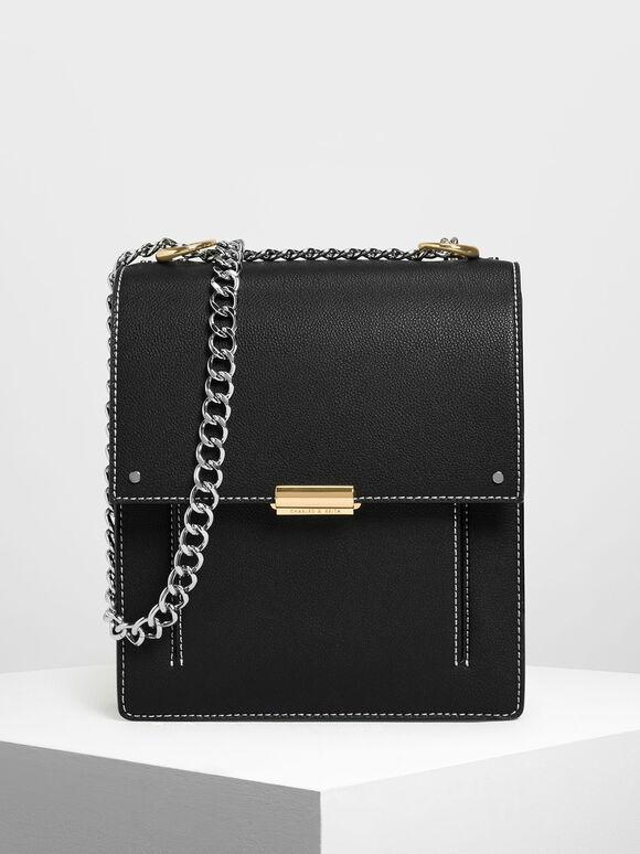 Chain Strap Portrait Messenger Bag, Black, hi-res