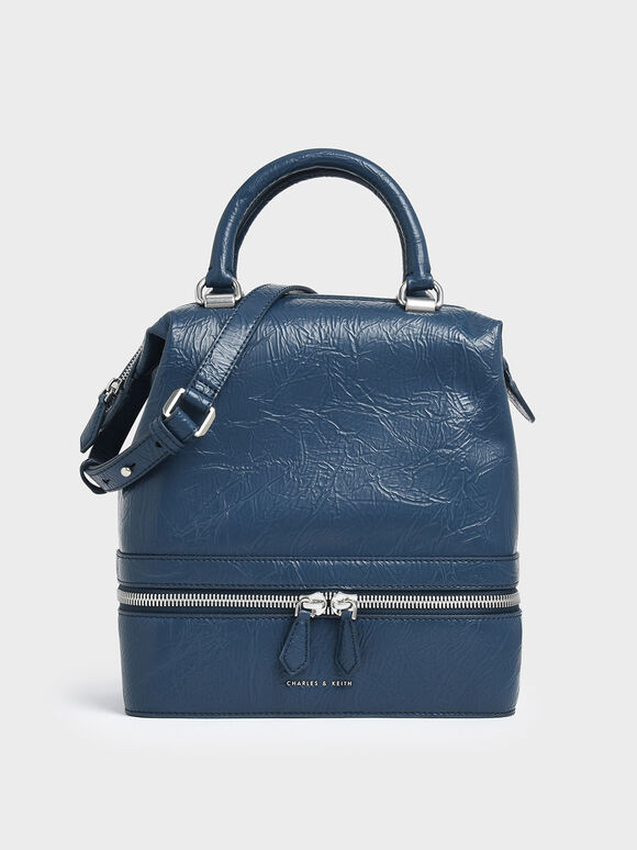 Wrinkled Effect Two-Way Zip Large Boxy Bag, Blue, hi-res