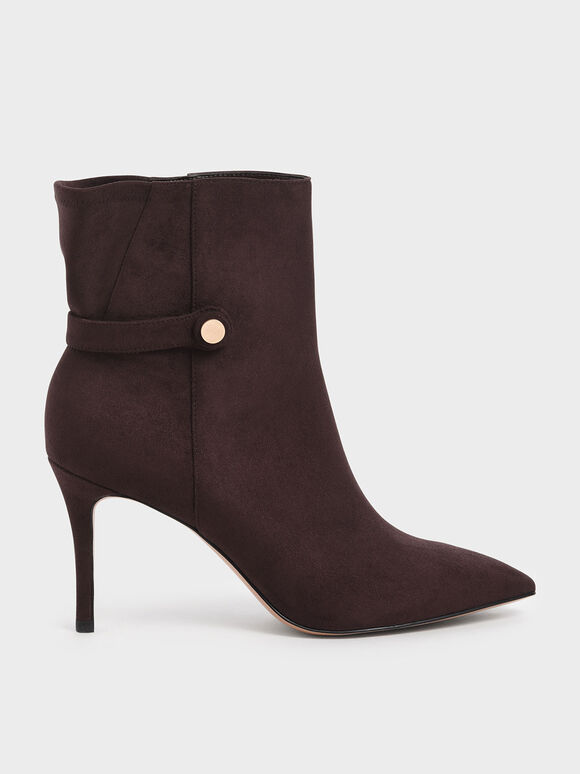 Textured Stiletto Heel Ankle Boots, Burgundy, hi-res