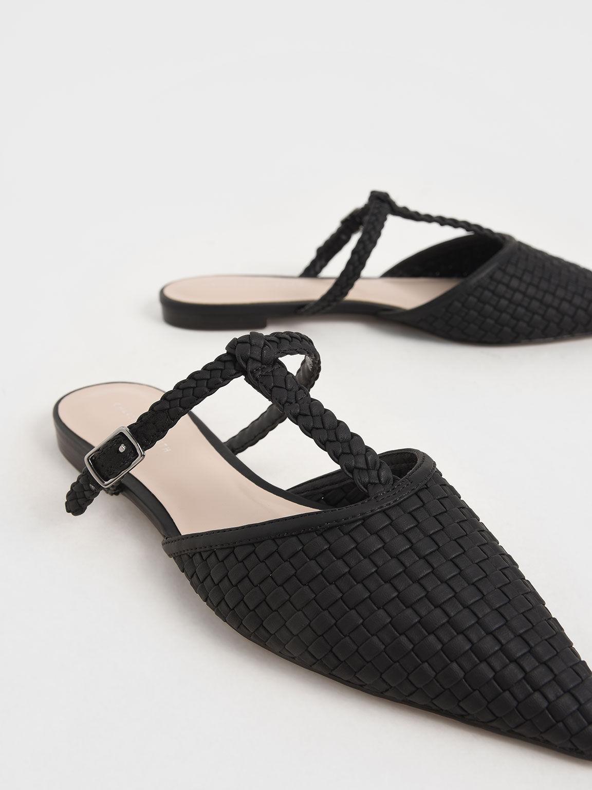 編織尖頭穆勒鞋, 黑色, hi-res