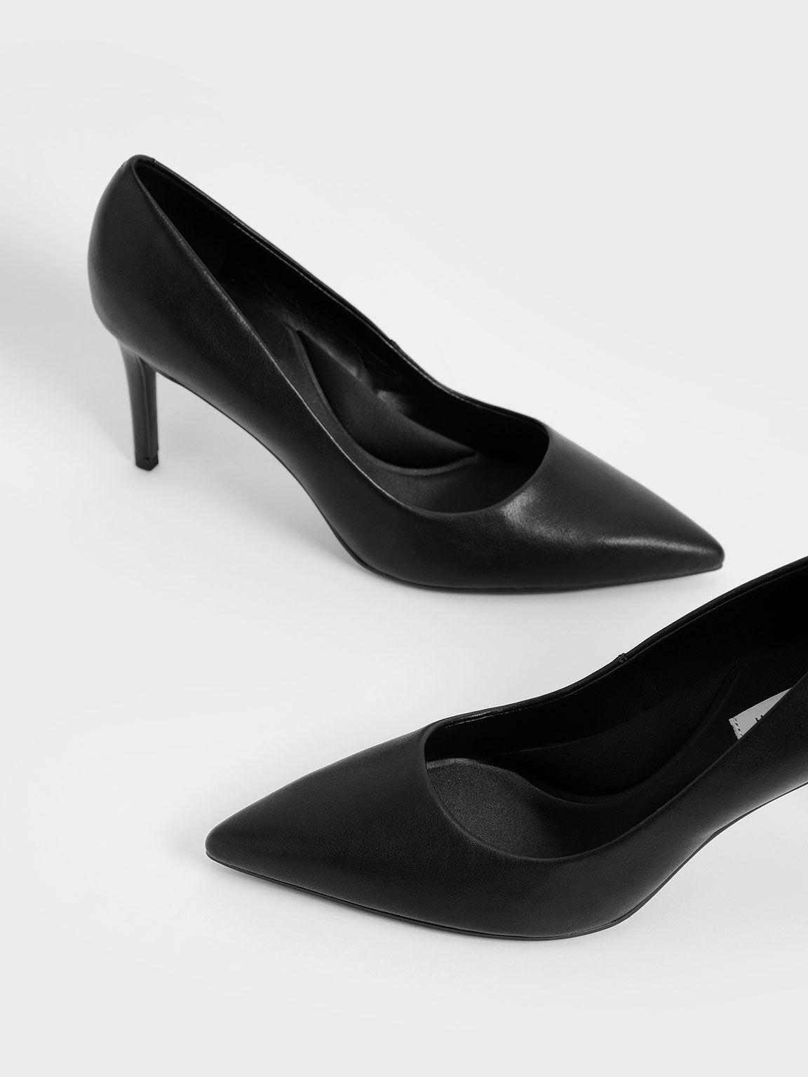 素面尖頭高跟鞋, 黑色, hi-res