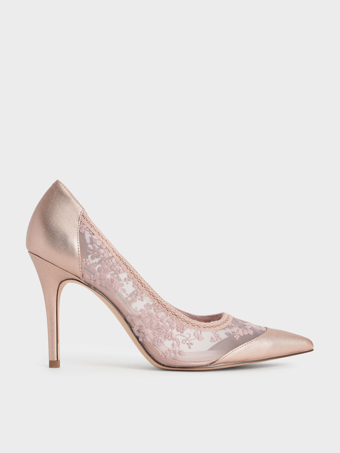 Embroidered Mesh Pointed Pumps, Rose Gold, hi-res