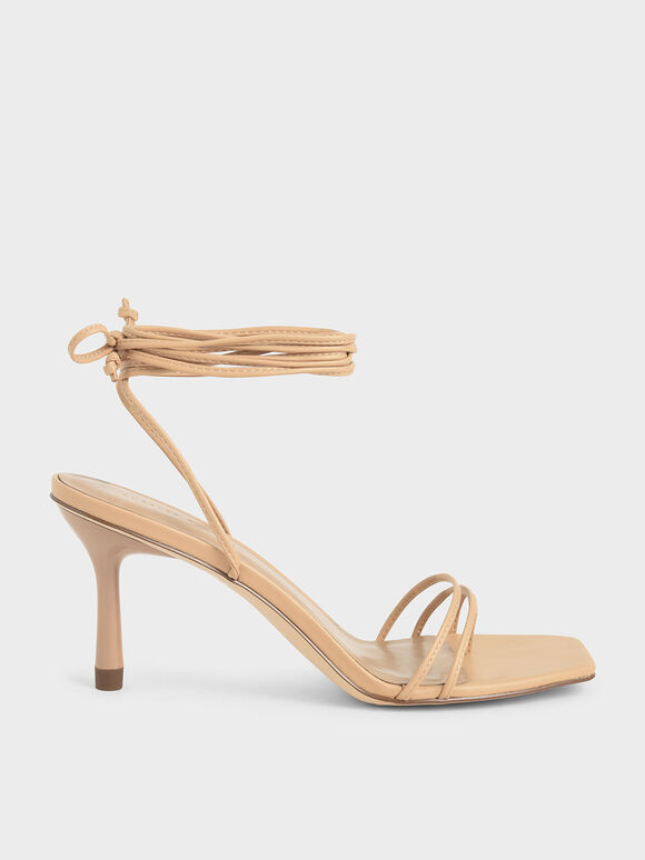 Strappy Tie Up Heels, Beige, hi-res