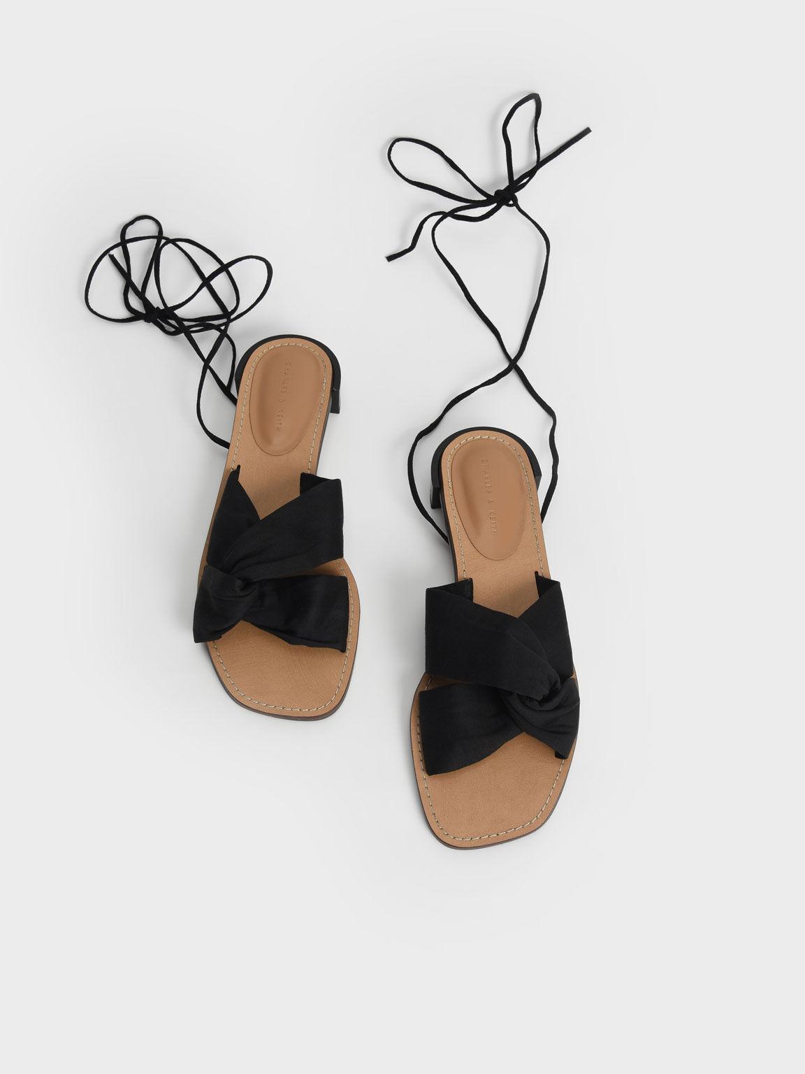 Knotted Tie-Around Sandals, Black, hi-res